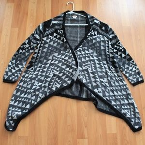 MOSSIMO Sz XL Tribal Open Cardigan Wrap Sweater